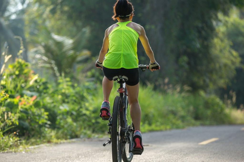 Riding bike outdoors